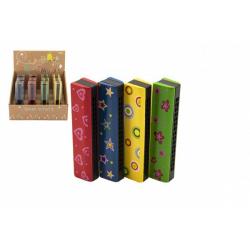 Obrázek Harmonika dřevěná 13cm 4 barvy v blistru 12ks v boxu