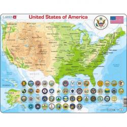 Obrázek Puzzle Mapa USA - geografická 90 dílků