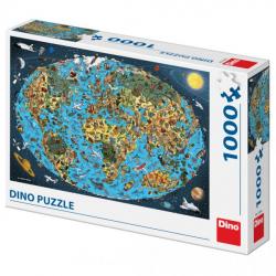 Obrázek Puzzle 1000 dílků Kreslená mapa světa