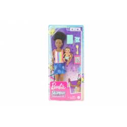 Obrázek Barbie Chůva s tílkem + miminko/doplňky GRP12