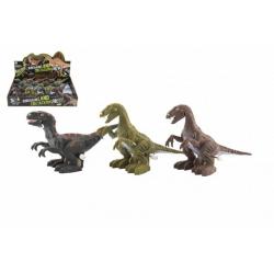 Obrázek Dinosaurus natahovací jezdící plast 9x15cm na baterie se světlem mix druhů 12ks v boxu