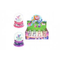Obrázek Sněhová koule/těžítko jednorožec kůň 6cm asst 2 barvy 12ks v boxu