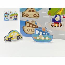 Obrázek Vkládačka/Puzzle deskové obrysové dopravní prostředky dřevo 30x21cm ve fólii 18m+