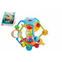 Obrázek Chrastítko koule/míček edukační plast 15cm pro nejmenší v krabici 18x19x17cm 6m+