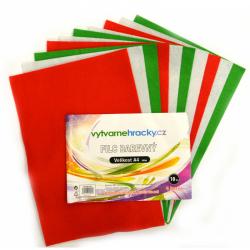 Obrázek Filc - 10 ks, Vánoční mix - zelená, bílá, červená