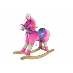 Obrázek Kůň houpací růžový plyš na baterie 71cm se zvukem a pohybem nosnost 50kg v krabici 62x56x19cm