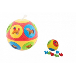 Obrázek Vkládačka míč plast průměr 13cm 2 barvy v síťce 12m+