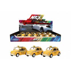 Obrázek Auto Welly taxi Fiat Nuova 500 žluté kov/plast 10,5cm na zpětné natažení 12ks v boxu