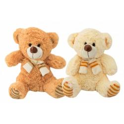 Obrázek Medvěd sedící se šálou plyš 35cm 2 barvy 0+