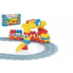 Obrázek Baby Blocks vlak s kolejemi a stavebnicí plast délka dráhy 2,24m s doplňky v krabici 56x30x8cm 12m+