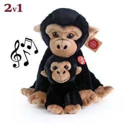 Obrázek Plyšová opice sedící s mládětem se zvukem 27 cm