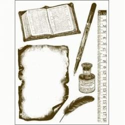 Obrázek Gelová razítka - Kniha,pravítko,psací pero,...