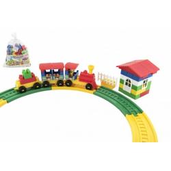 Obrázek Stavebnice vlak s vagónky plast 69ks v sáčku 28x27x13cm