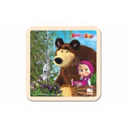 Obrázek Skládačka Puzzle dřevo Máša a Medvěd se zajícem 4ks 15x15cm 12m+