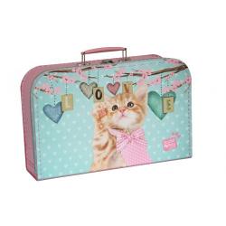 Obrázek Kufřík Kočička Ginger růžovo/zelený 35 cm