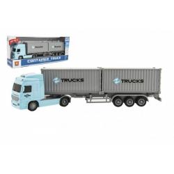 Obrázek Kamion s kontejnery plast 33cm na setrvačník na baterie se světlem se zvukem v krabici 37x15x8cm