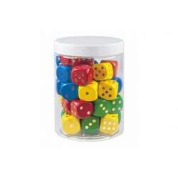 Obrázek Hrací kostky barevné dřevo společenská hra 25mm 34 ks v plastové dóze 10x14cm 12m+