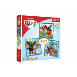 Obrázek Puzzle 3v1 Bing Bunny Zábava s přáteli v krabici 28x28x6cm