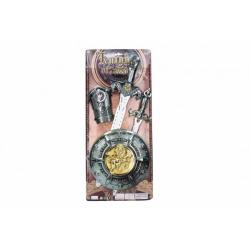 Obrázek Rytířská sada plast meč 50cm dýka štít chránič na ruku 4ks na kartě