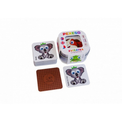 Obrázek Pexeso Zvířátka 64 karet v plechové krabičce 6x6x4cm Hmaťák