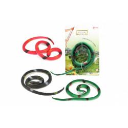 Obrázek Had gumový natahovací 32cm 3 barvy na kartě 15x23cm