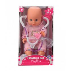 Obrázek Panenka Bambolina s stetoskopem a kojeneckou lahvičkou 33 cm