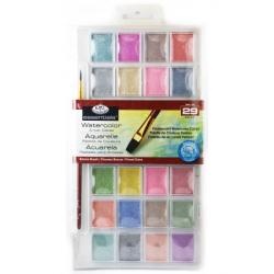Obrázek ROYAL and LANGNICKEL Akvarelové barvy perleťové, 28 ks + štětec
