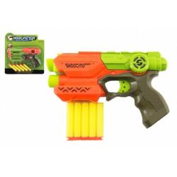 Obrázek Pistole 21cm na pěnové náboje 5ks plast 2 barvy na kartě