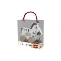Obrázek Zebra na kolieskach as povrázkom drevená Wooden Toys