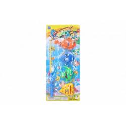 Obrázek Hra ryby/rybář magnetické plast 4ks+prut plast 30cm na kartě