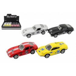 Obrázek Auto sportovní 10cm kov/plast na zpětné natažení 4 druhy 12ks v boxu