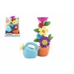Obrázek Mlýnek do vany kytička plast 24cm na přísavky s konvičkou v krabici 21x27x10cm 18m+