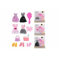 Obrázek Sada krásy šaty/oblečky na panenky s doplňky 4 druhy na kartě 24x27cm