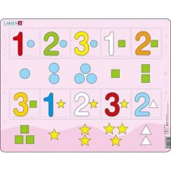 Obrázek Puzzle Čísla 1-3 s grafickými znaky 10 dílků