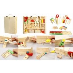 Obrázek Nářadí dřevo s doplňky v dřevěném kufříku 21x30x8cm