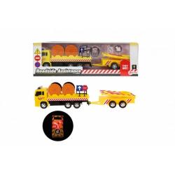 Obrázek Auto nákladní plast 17cm silniční pomoc se svítícím značením s doplňky na baterie v krabici 32x10x7