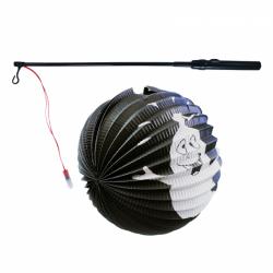 Obrázek Lampion duch Halloween 25 cm duch koule se svítící hůlkou 39 cm