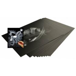 Obrázek Škrabacie fólia strieborná 22,9 x 15,2 cm 10 ks