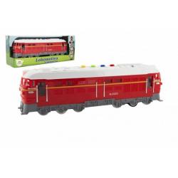 Obrázek Lokomotiva/Vlak červená plast 34cm na baterie se zvukem se světlem v krabičce 41x16x12cm
