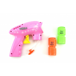 Obrázek Pistole bublifuk plast 15x15cm na setrvačník - 2 barvy