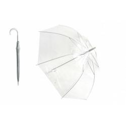 Obrázek Deštník průhledný bílý plast/kov 82cm v sáčku