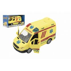 Obrázek Auto ambulance plast 20cm na setrvačník na baterie se zvukem se světlem v krabici 26x15x12cm