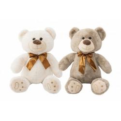 Obrázek Medvěd sedící s mašlí plyš 36cm 2 barvy v sáčku 0+