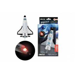 Obrázek Raketoplán kov/plast 15cm na zpětné natažení na bat. se světlem se zvukem v krabičce 11,5x22,5x6cm