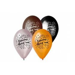 Obrázek Balonek/Balonky nafukovací 11'' průměr 30cm Šťasný Nový rok 6ks v sáčku