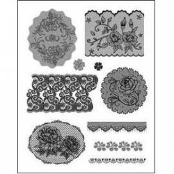Obrázek Gelová razítka - Krajky s růžičkami a srdíčky