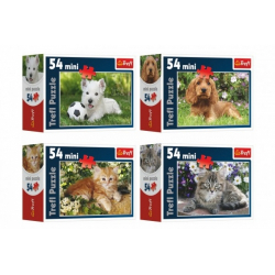 Obrázek Minipuzzle Zvířátka 54 dílků 4 druhy v krabičce 9x6,5x3,5cm 40ks v boxu