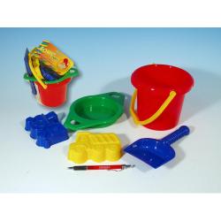 Obrázek Kbelík sítko lopatka 2 bábovky plast