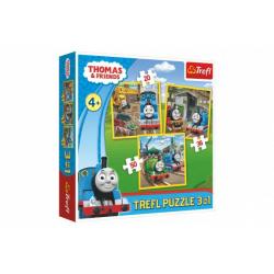 Obrázek Puzzle 3v1 Mašinka Tomáš/Tomáš jde do akce 20x19,5cm v krabici 28x28x6cm