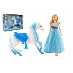 Obrázek Kůň česací + panenka Ledová princezna plast v krabici 46x33x9cm